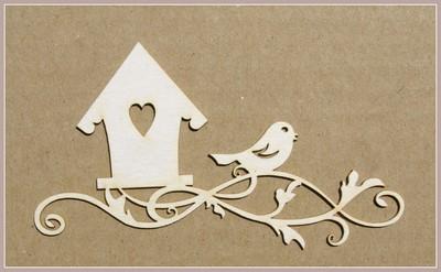 Birdhouse on Branch with Bird