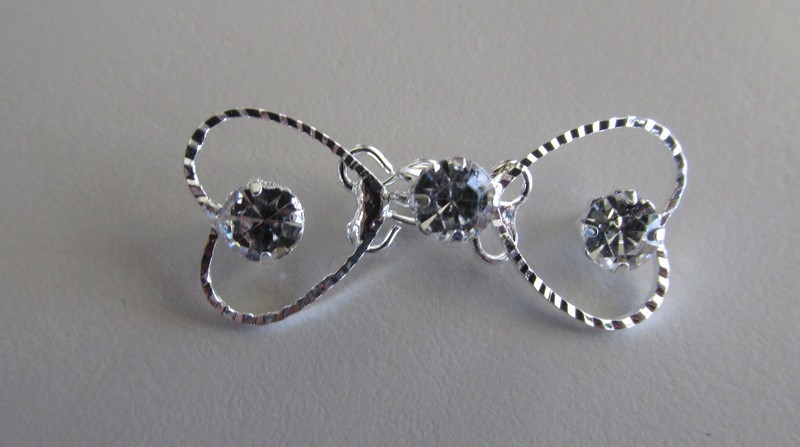Silver Toned Heart Rhinestone Hook & Eye