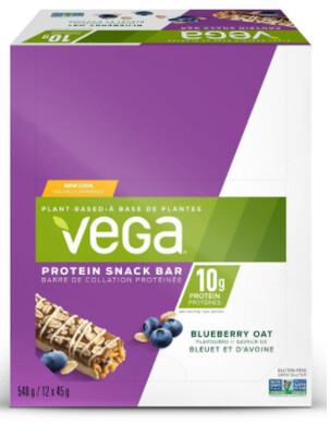 *NEW* - Vega  - Protein Snack Bars - Blueberry Oat - 12x45g