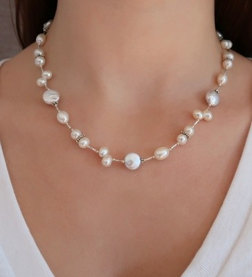 White Pearl and Silver Necklace