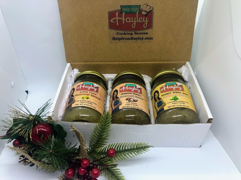 3 Pack Help From Hayley Gourmet Sauce Gift Box- Italian Flavors-Mushroom Marsala, Lemon Caper, Herbed White Wine.  Free Shipping