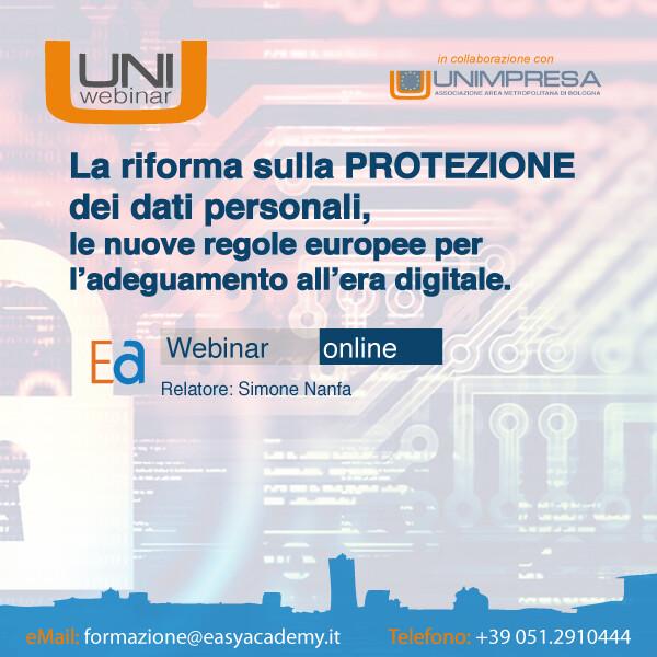UNIwebinar - La riforma sulla protezione dei dati personali