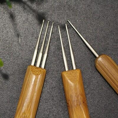 Lot de 3 Aiguilles Crochet simple double triple pointe 0,75 dreadlocks Locks avec manche