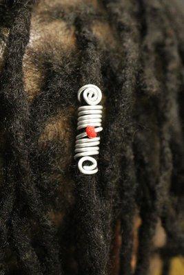 Bijou locks loc jewel Red Pearl argenté