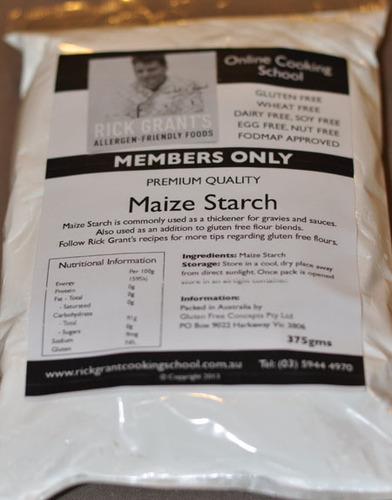 Gluten Free Maize Starch Rick Grant's maize Starch is 'A' Grade quality. Maize Starch is very useful as a thickener for sauces and gravies and can also be used to add to other Gluten Free flours.