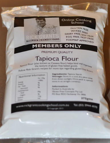 Rick Grant's GF Tapioca Flour Rick Grant's Tapioca Flour is a very useful flour to add to your Gluten Free pantry. Tapioca Flour is used for thickening sauces, gravies or sweet sauces.