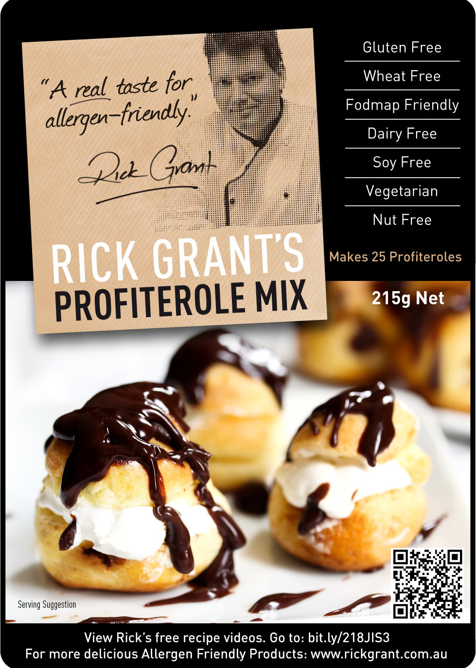 Profiterole Mix. Now you can make delicious Profiteroles, Eclairs or Paris Brest. Follow the instructions on the pack. No one will even know that they are gluten free and Fodmap Friendly!