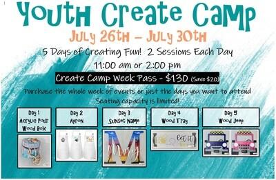 Youth Create Camp Week Pass 2021