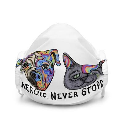 """Rescue Never Stops"" Premium face mask"