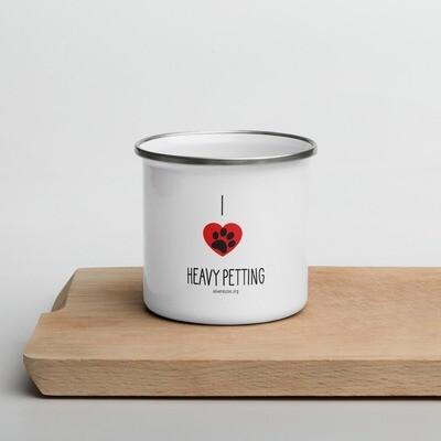 """I Heart Heavy Petting"" Enamel Mug"