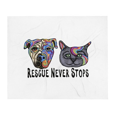 """""""Rescue Never Stops"""" Throw Blanket"""