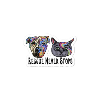 """""""Rescue Never Stops"""" Bubble-free stickers"""