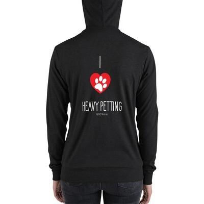 """I Heart Heavy Petting"" Unisex zip hoodie"
