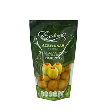 Aceitunas rellenas de pasta de pimiento - Excelencia - 180g