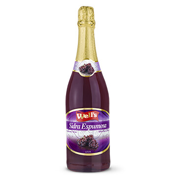 Botella Sidra - Wells -  sin alcohol - 750ml - Sabor Uva