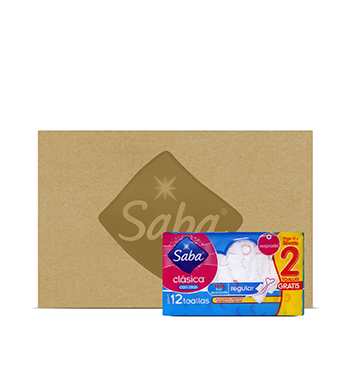 Caja con Paquetes de Toallas Sanitaria con Alas Saba® - 10U