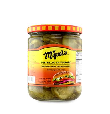Pepinillos para Hamburguesa (rodajas) en Vinagre Miguel's® - 9.5 oz