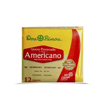 Queso Procesado Americano - 12 rebanadas - Dos Pinos - 192g