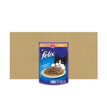 Caja Alimento Humedo para Gatito - Felix - 24 Unidades - 85g - Sabor Pollo