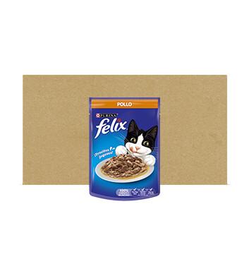 Caja Alimento Humedo para Gato - Pouch - Felix - 24 Unidades - 85g - Sabor Pollo