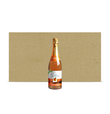 Caja con Botellas de Sidra Sidral® Sin alcohol - Sabor Melocotón - 12x750ml