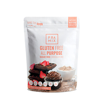 Harina Sin Gluten - Mezcla todo propósito chocolate sin azúcar - Pramix - 360g