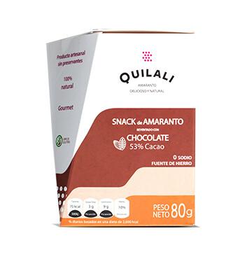 Snack Amaranto - Quilali  - 80g/caja - Sabor Chocolate 53%
