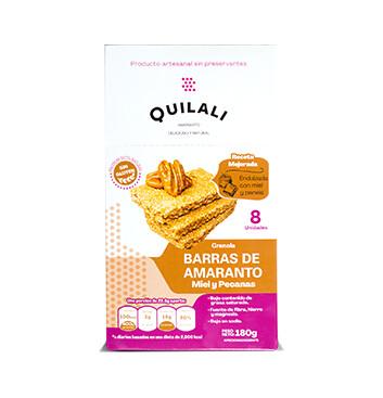 Barras de Amaranto  - Quilali  - 8x180g/caja - Sabor miel pecanas