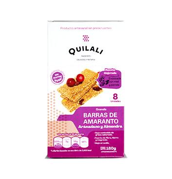 Barras de Amaranto - Quilali - 8x180g/caja - Sabor Arándano almendra
