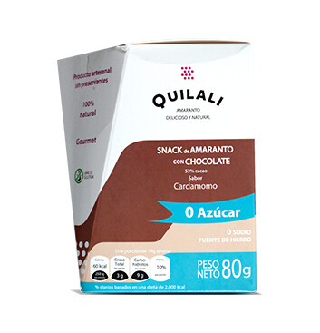 Snack Amaranto  - Quilali - 80g/caja - Sabor Chocolate sin azúcar  con Cardamomo