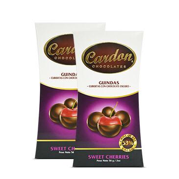 Bolsa de Guindas cubiertas con Chocolate Cardon, 2x56g