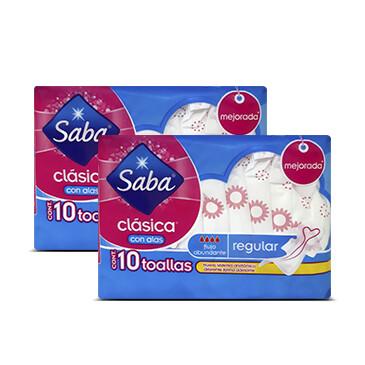 Toalla Sanitaria - Clásica - Saba -2x10 Unidades/paquete