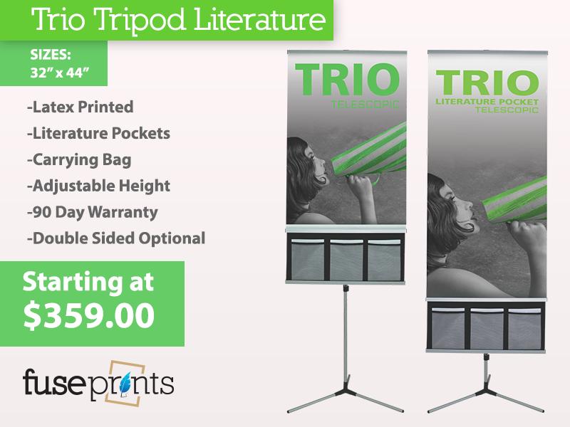 Trio Tripod Banner Stand w/ Literature Pocket