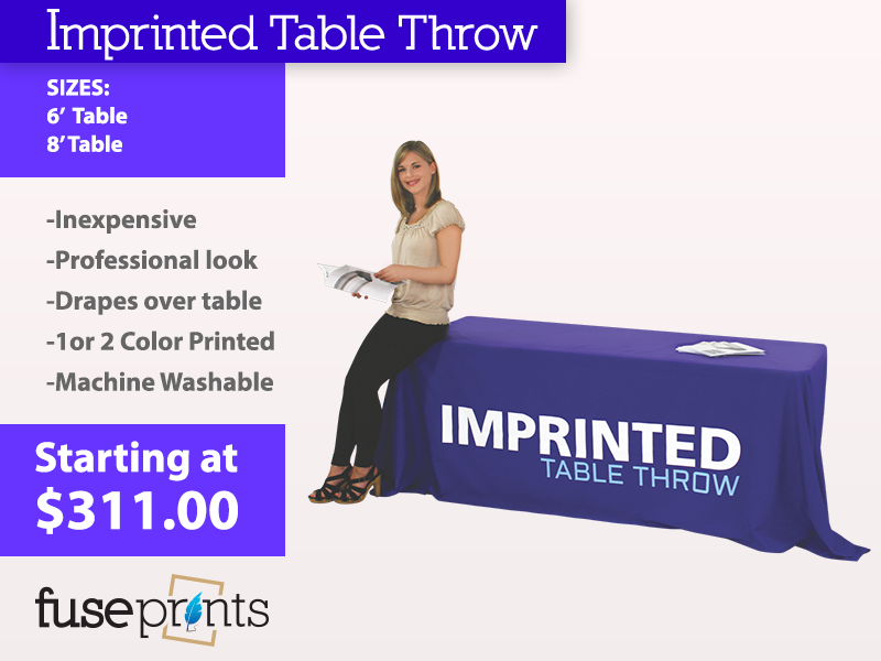 Imprinted 1 or 2 Color Table Throws