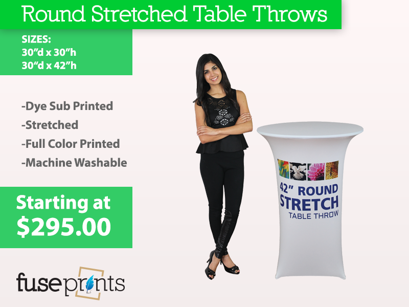 Stretched Round Full Color Table Throws