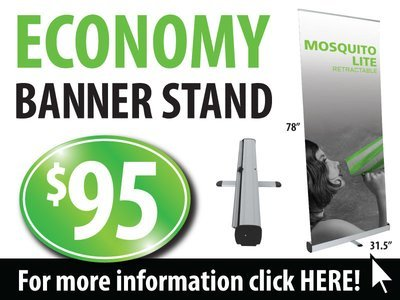 Economy Banner Stand, Pull Up Banner, Pop Up Banner Stand