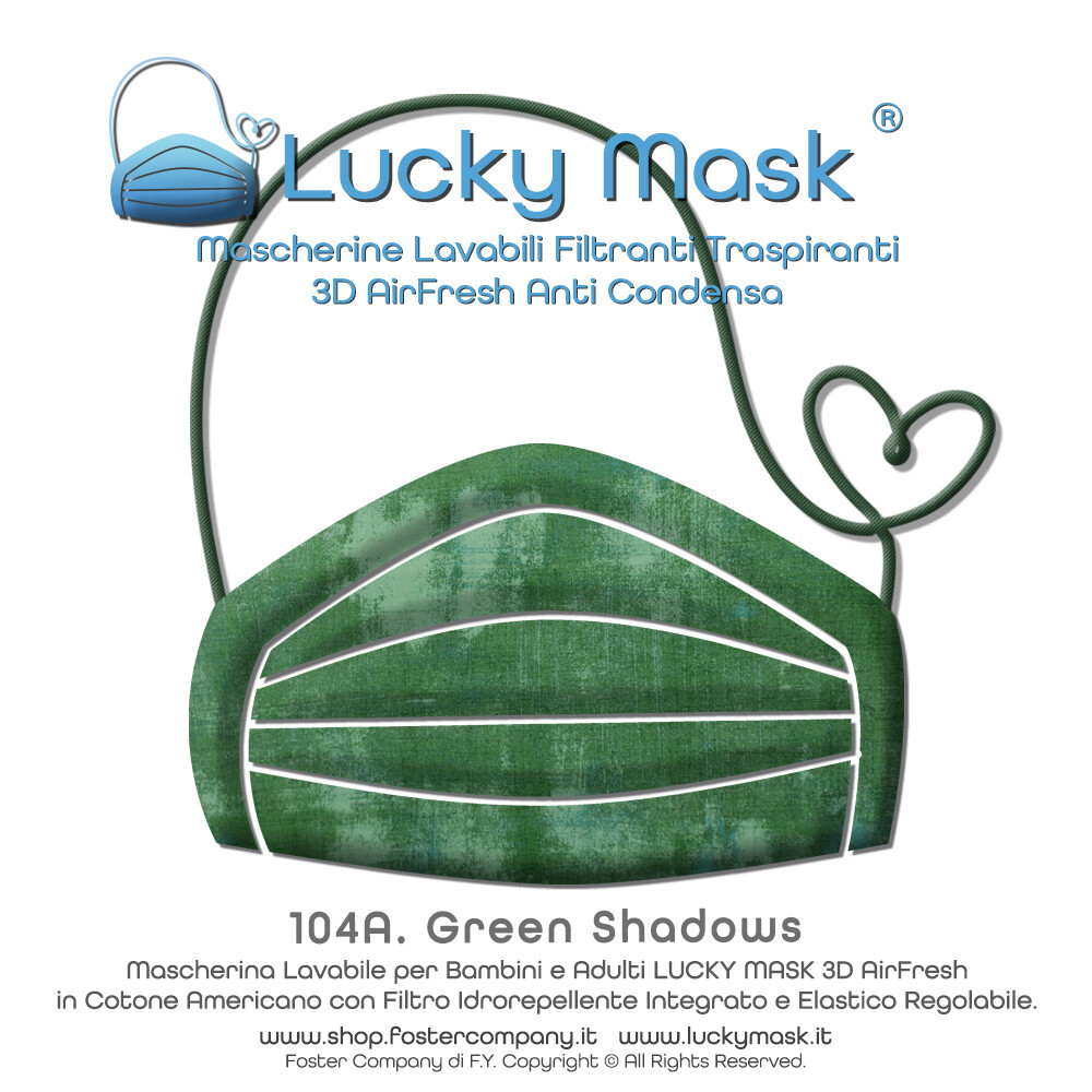 Mascherina Lavabile Fashion Personalizzata in Tessuto Filtrante Anti Condensa LUCKY MASK AirFresh