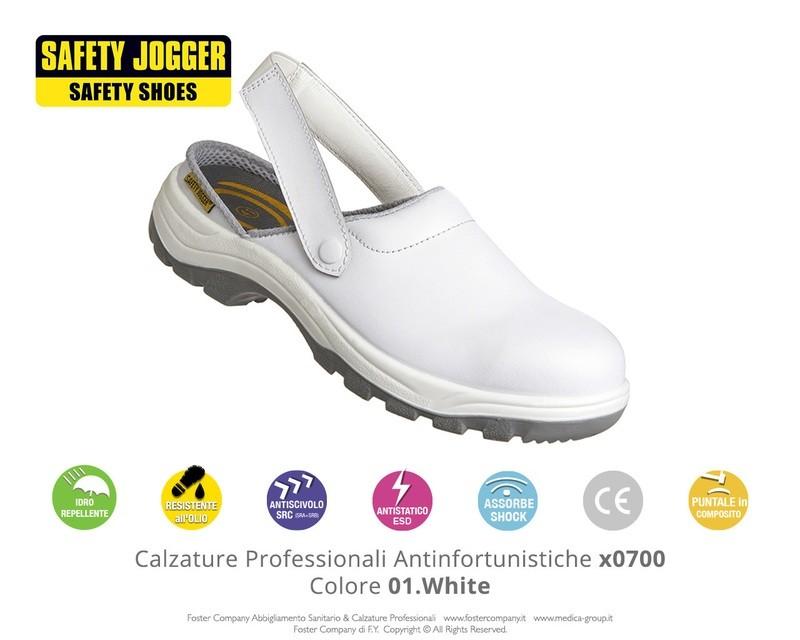 Zoccoli Professionali Antinfortunistici con Puntale di Protezione Safety Jogger X0700 Colore 01. White - FINE SERIE