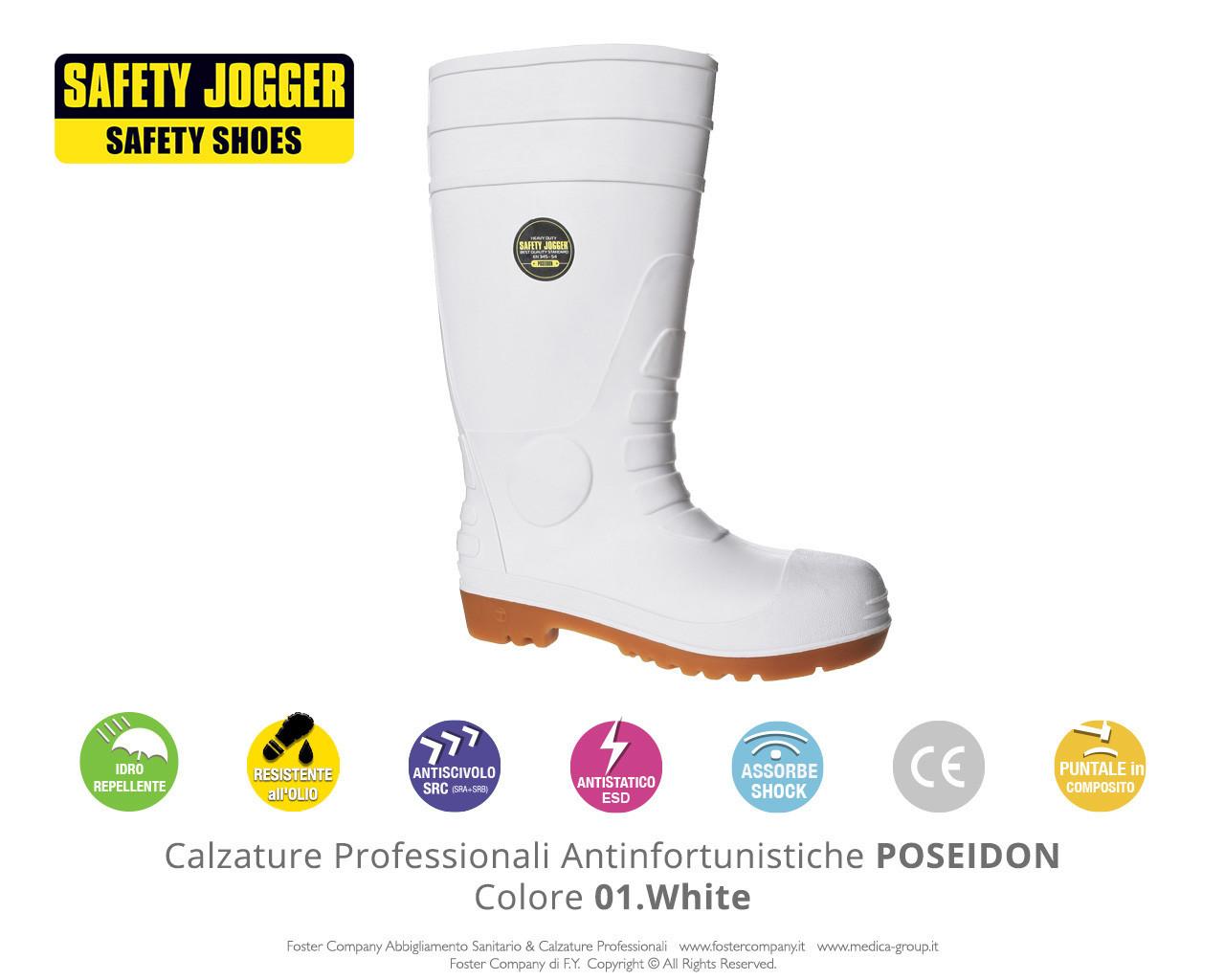 Calzature Professionali Antinfortunistiche con Puntale di Protezione Safety Jogger POSEIDON Colore 01. White