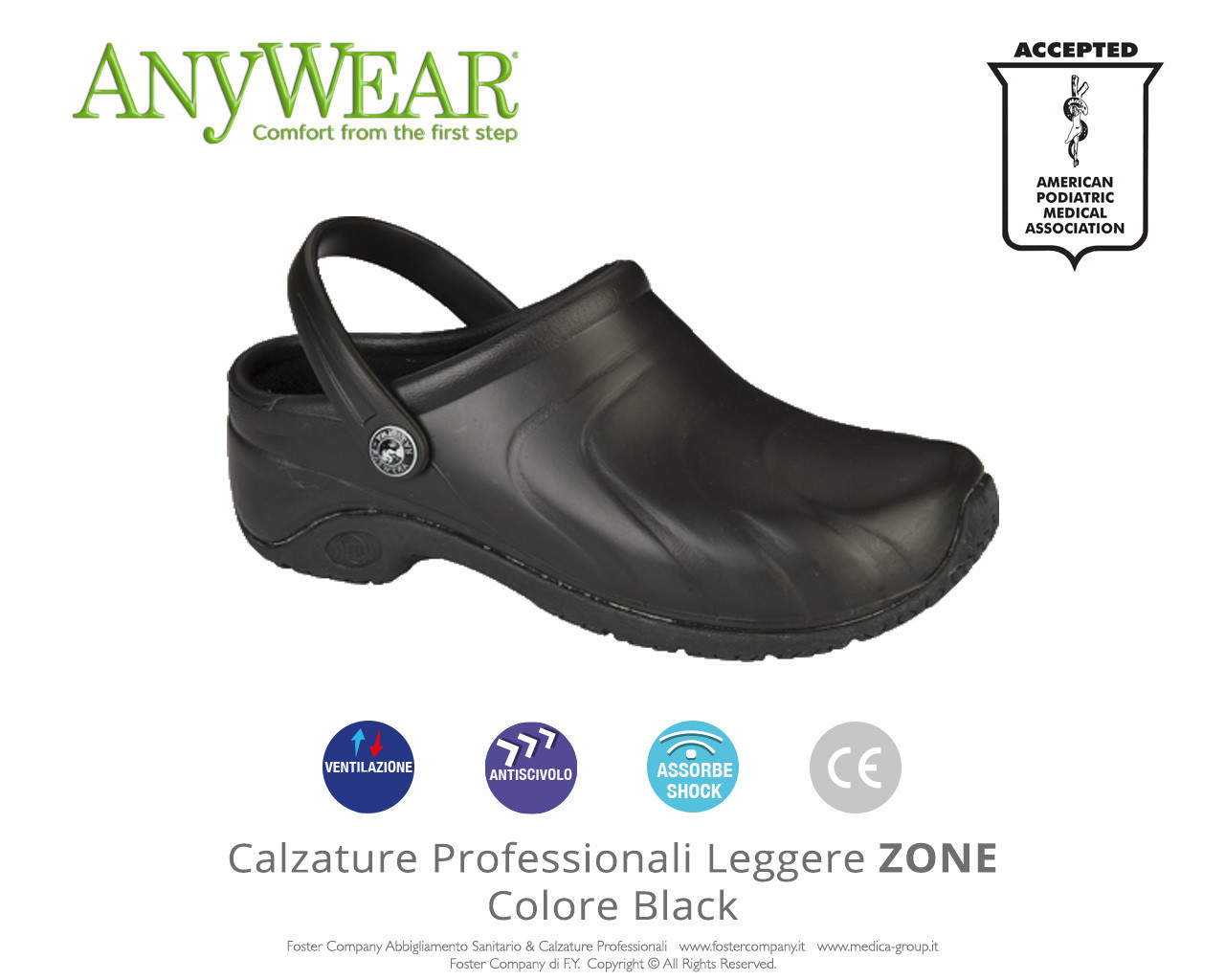 Calzature Professionali Anywear ZONE Colore Black