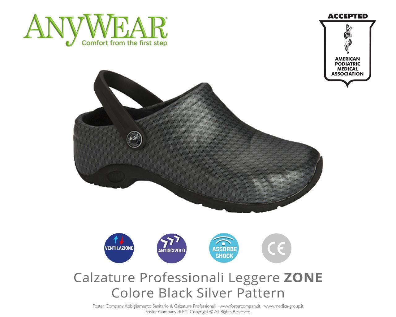 Calzature Professionali Anywear ZONE Colore Black Silver Pattern