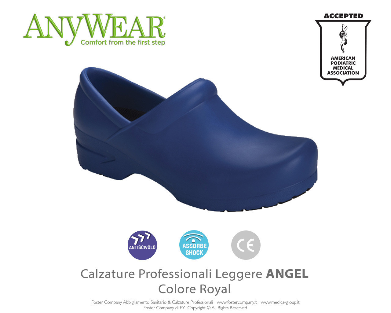 Calzature Professionali Anywear ANGEL Colore Royal - COLORE DI FINE SERIE
