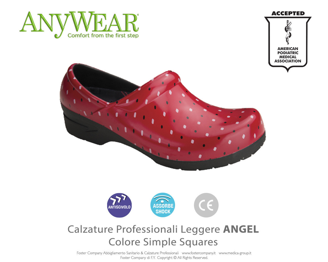 Calzature Professionali Anywear ANGEL Colore Simple Squares