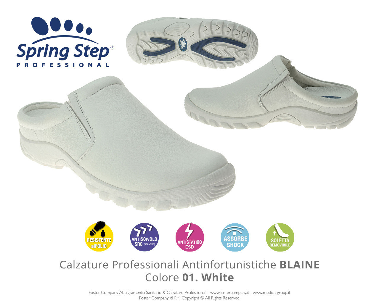Calzature Professionali Spring Step BLAINE Colore 01. White