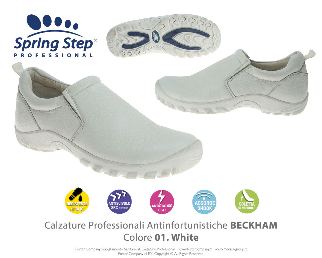 Calzature Professionali Spring Step BECKHAM Colore 01. White