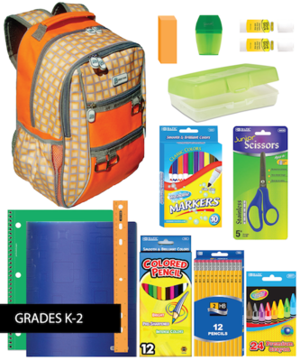 BACKPACK ASSEMBLY KIT (K-2): Valencia Backpacks + School Supplies