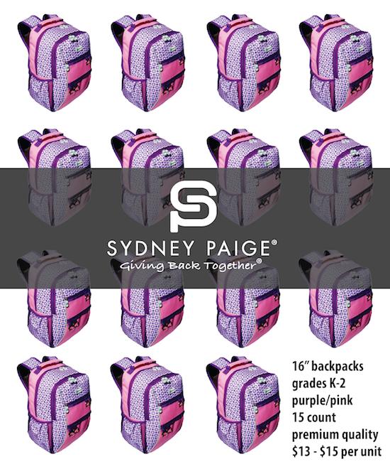 "BUY IN BULK | Sydney Paige 16"" Premium Backpacks | Valencia | Purple Spotlight | 15 count"