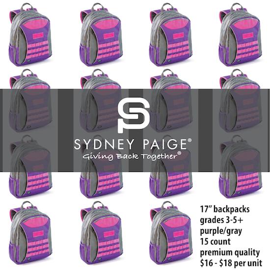 "BUY IN BULK   Sydney Paige 17"" Premium Backpacks   Taggart   Purple   15 count"