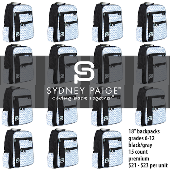 """BUY IN BULK   Sydney Paige   18"""" Premium Backpacks   Raleigh   Silver Lining   15 count"""