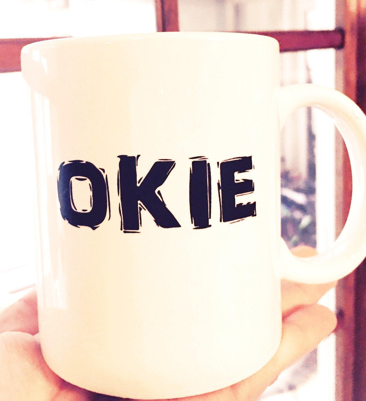 Okie Mug - White with Black Print